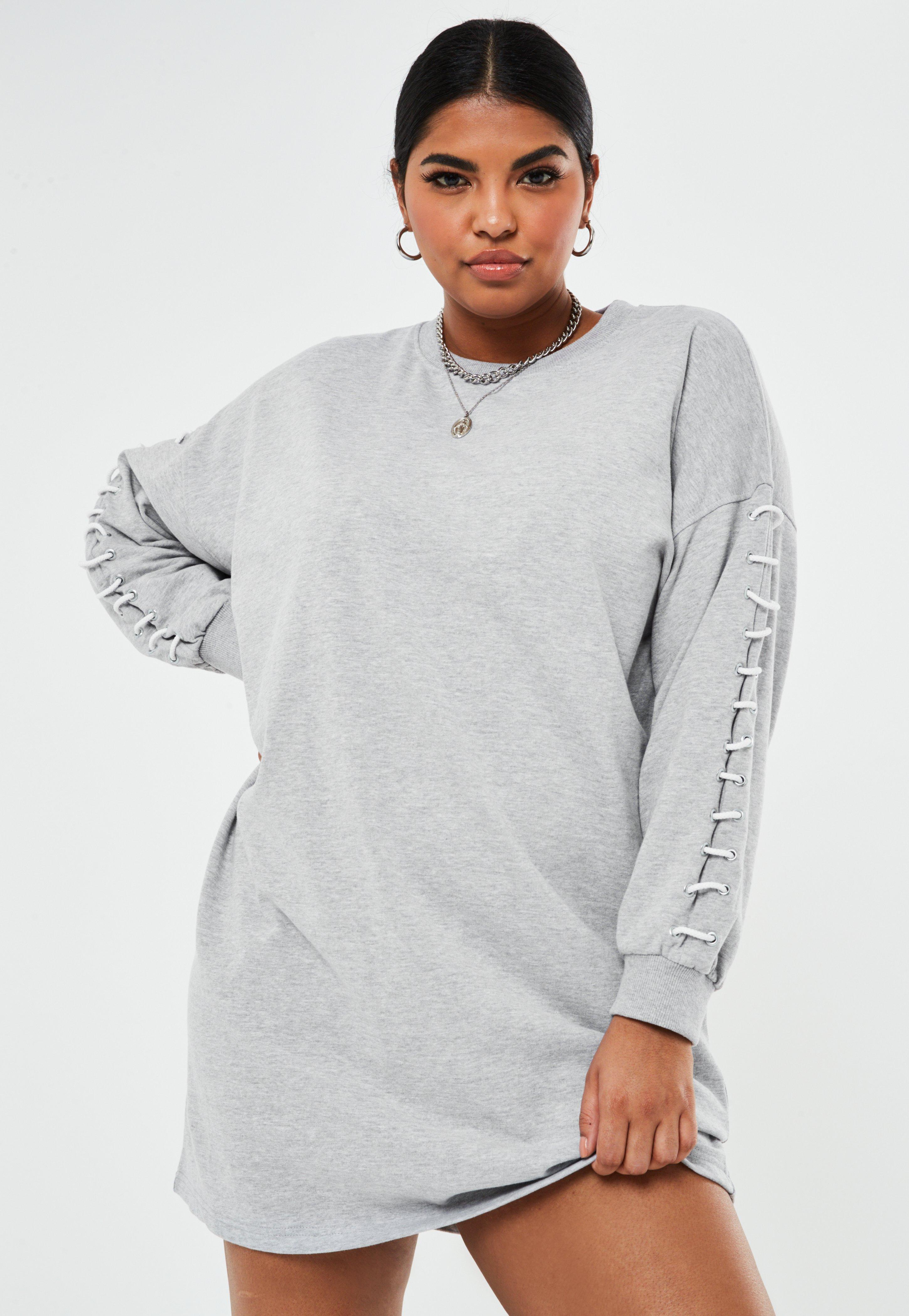 Robe sweat grise avec manches cordon grandes tailles