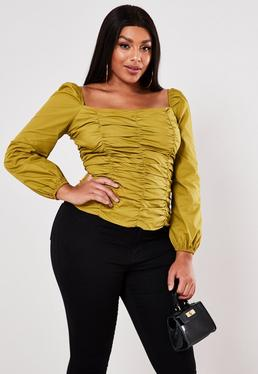 Plus Size Olive Poplin Ruched Square Neck Top