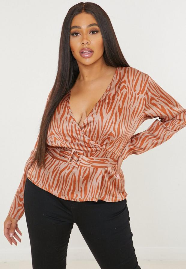 plus size brown zebra print plunge belted blouse