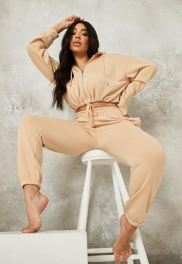 Plus Size Cream Zip Hoodie And Joggers Co Ord Set