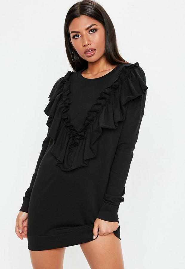 Missguided - Black Frill Sweater Dress, Black - 1