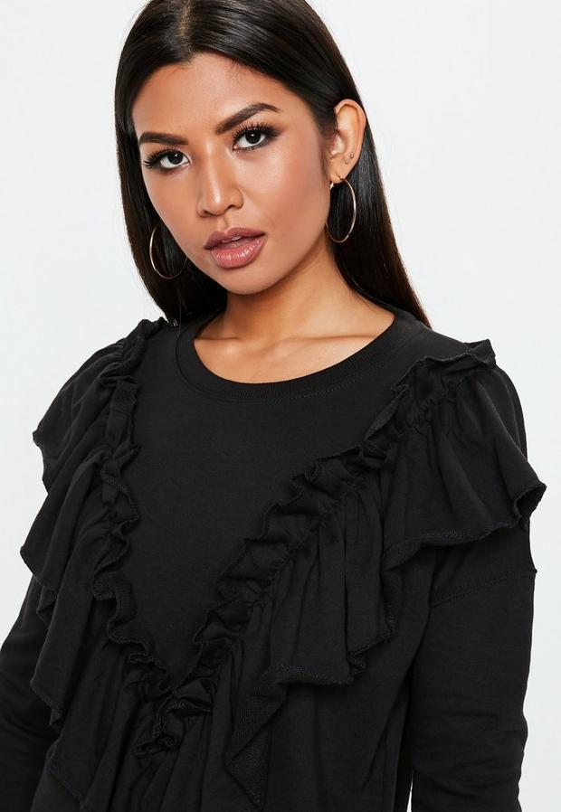 Missguided - Black Frill Sweater Dress, Black - 3