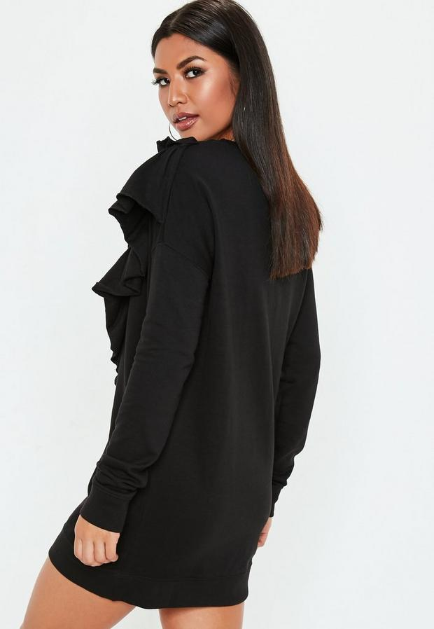 Missguided - Black Frill Sweater Dress, Black - 4