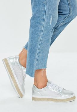 Silver Mesh Platform Sneakers