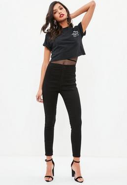Petite Black Vice Highwaist Stretch Skinny Jeans