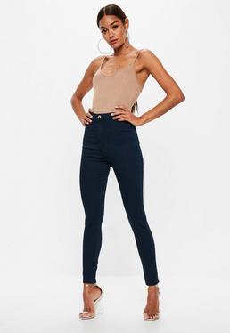 Petite Granatowe dopasowane jeansy Vice