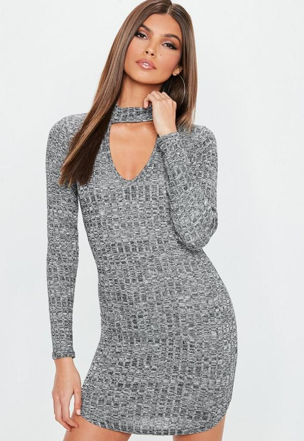 Grey Ribbed Choker Neck Bodycon Dress by Missguided