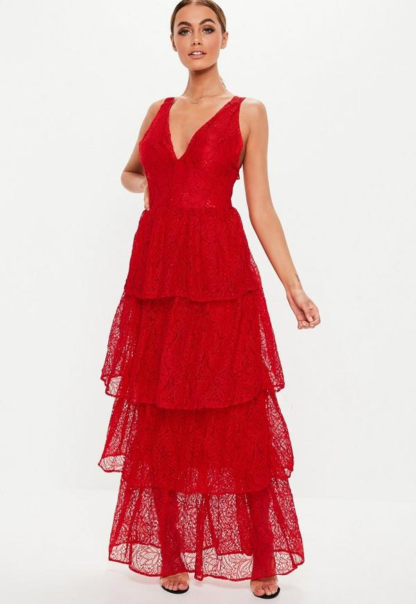 Red Lace Tiered Frill Maxi Dress by Missguided