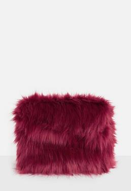 Red Faux Fur Oversized Clutch Bag