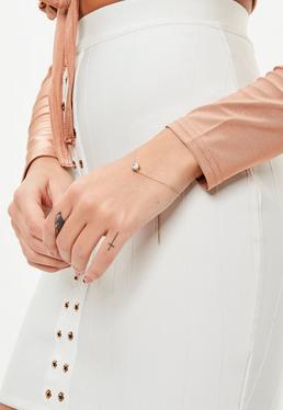 Gold Plated Diamante Stud Bracelet