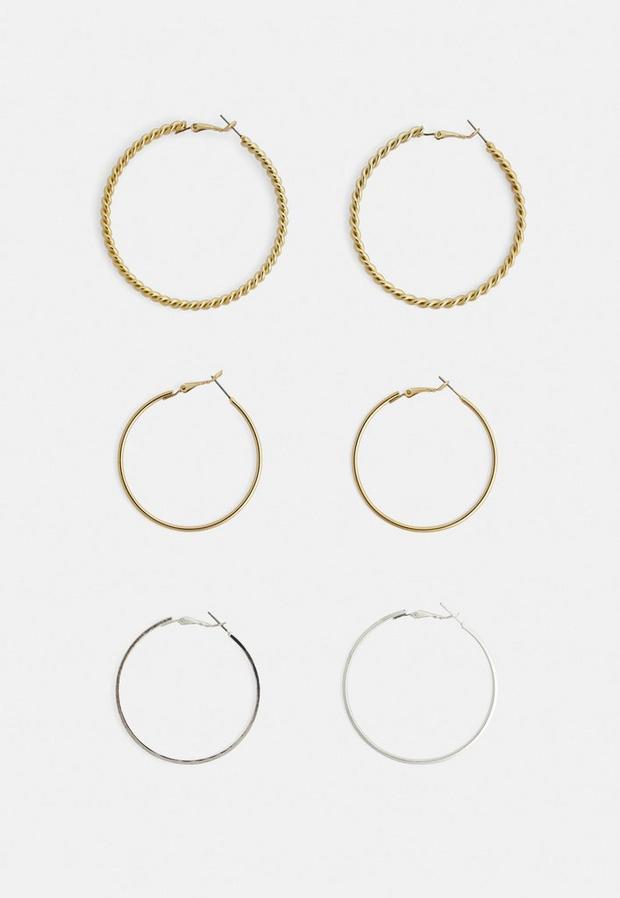 Image of 3 Pack Large Hoop Earrings, Gold