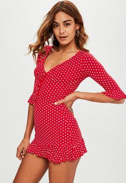 Red Frill Polka Dot Print Dress