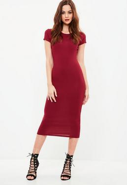 Burgundy Bodycon Midi Dress