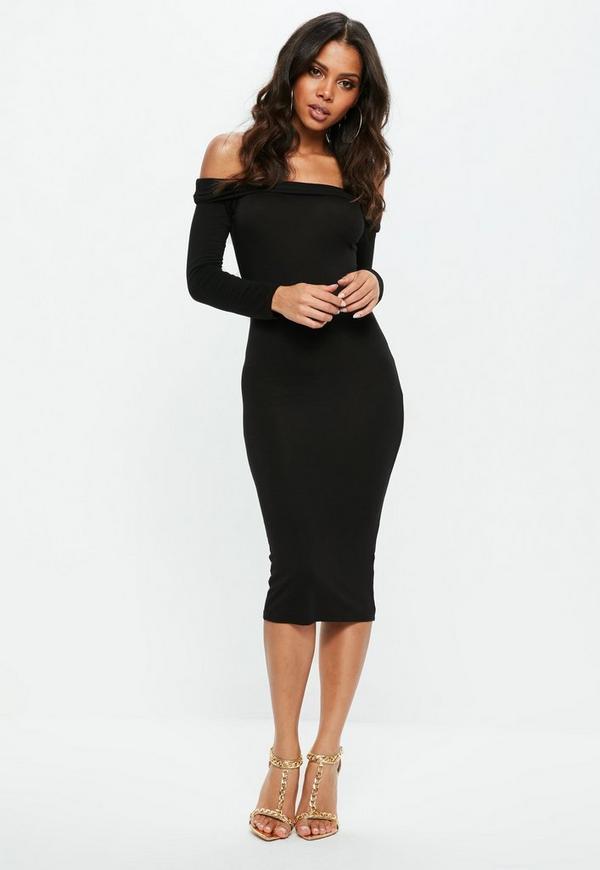 Bodycon midi long sleeve dress