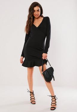 9ae09095c5a ... Black Wrap Front Frill Mini Dress