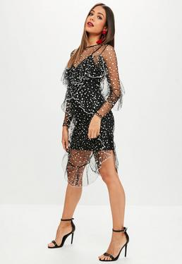 Black Spotty Mesh Dress