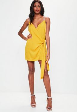 Yellow Wrap Tie Diamante Strap Shift Dress