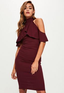 Purple Cold Shoulder Midi Dress