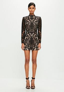 Peace + Love Black High Neck Mini Dress
