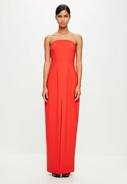 Peace + Love Orange Bandeau Tailored Maxi Dress