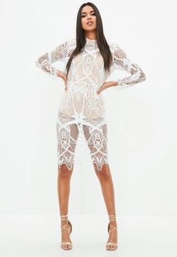 Peace + Love White Intricate Lace High Neck Midi Dress