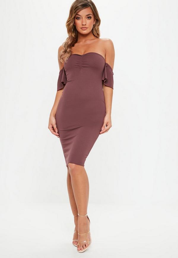 05a00ea468a Burgundy Stretch Crepe Sweetheart Dress | Missguided Australia