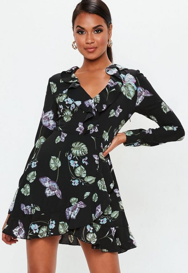 Black Floral Long Sleeve Ruffle Tea Dress Missguided