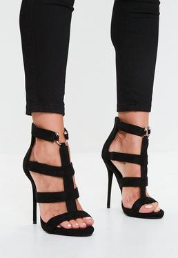 Black Gladiator Style Heeled Sandals