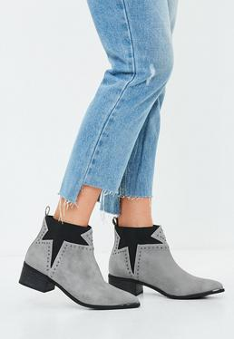Grey Star Studded Western Ankle Boot