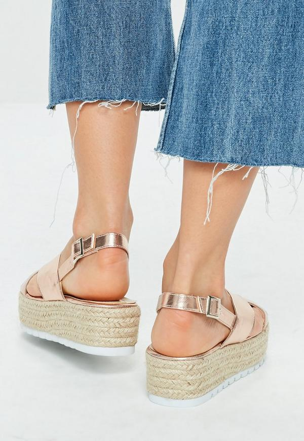 Rose Gold Flatform Sandal Missguided
