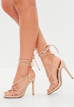 Nude Multistrap Gladiator Heeled Sandal