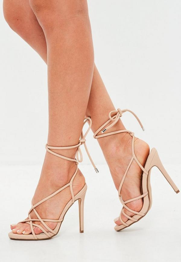 Nude Tie Up Gladiator Sandals by Missguided