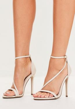 Nude Asymmetric Strappy Sandals