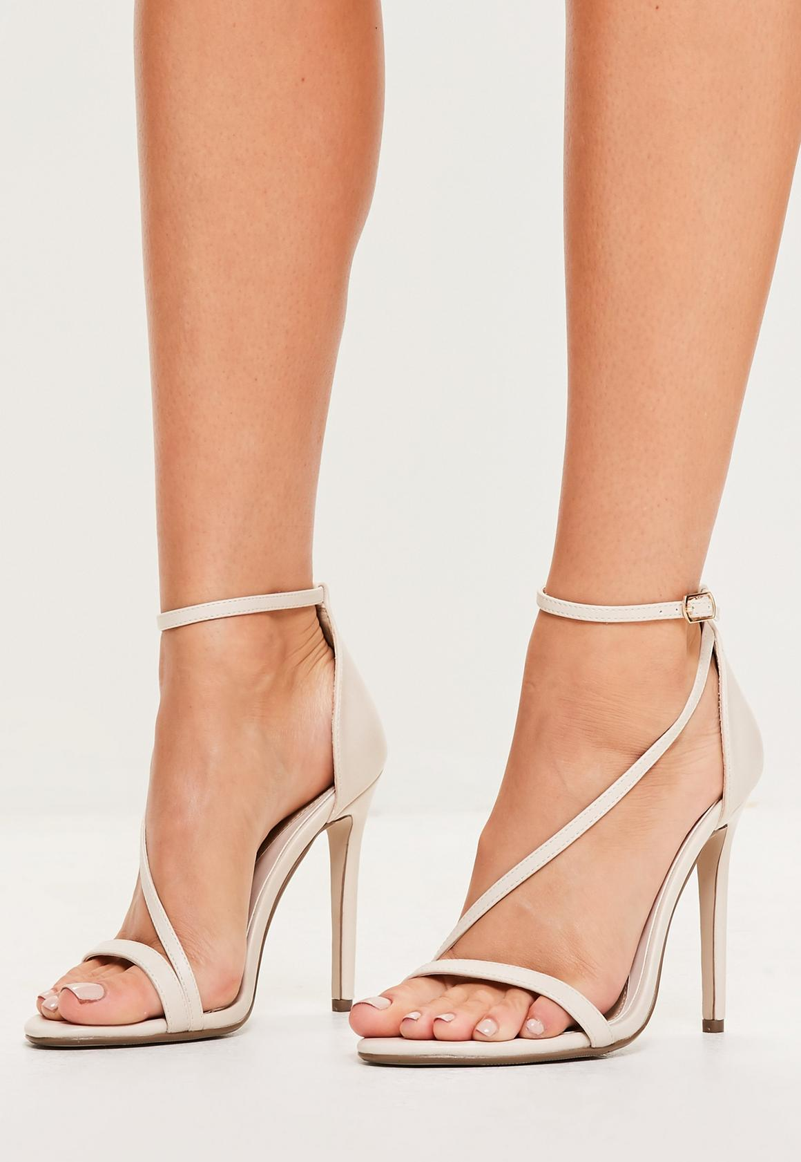 Nude Asymmetric Strappy Sandals | Missguided Ireland