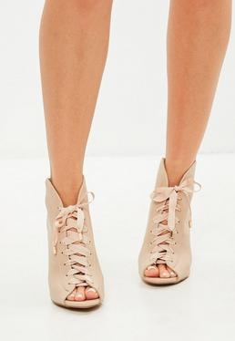 Nude Lace Up Peep Toe Boots