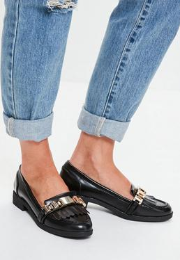 Black Chain Tassel Loafers