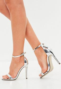 silver two strap barely there heels