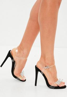 Clear Bow Strappy Sandals