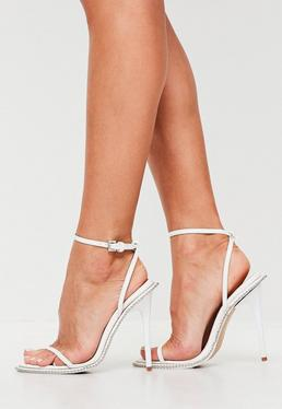 White Chain Barely There Heels