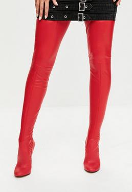 Red Rounded Toe Thigh Faux Leather Boots