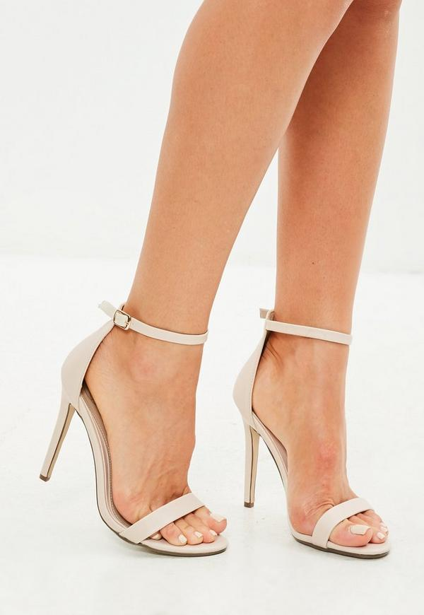 Nude Two Strap Barely There Sandals by Missguided