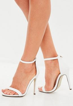 White Flat Two Strap Barely There Sandals