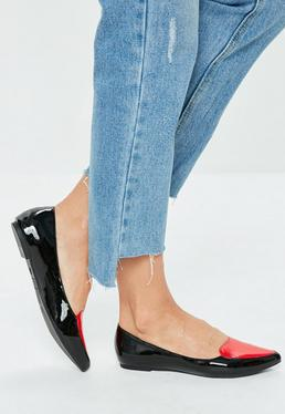 Black Heart Pointed Flat Shoe
