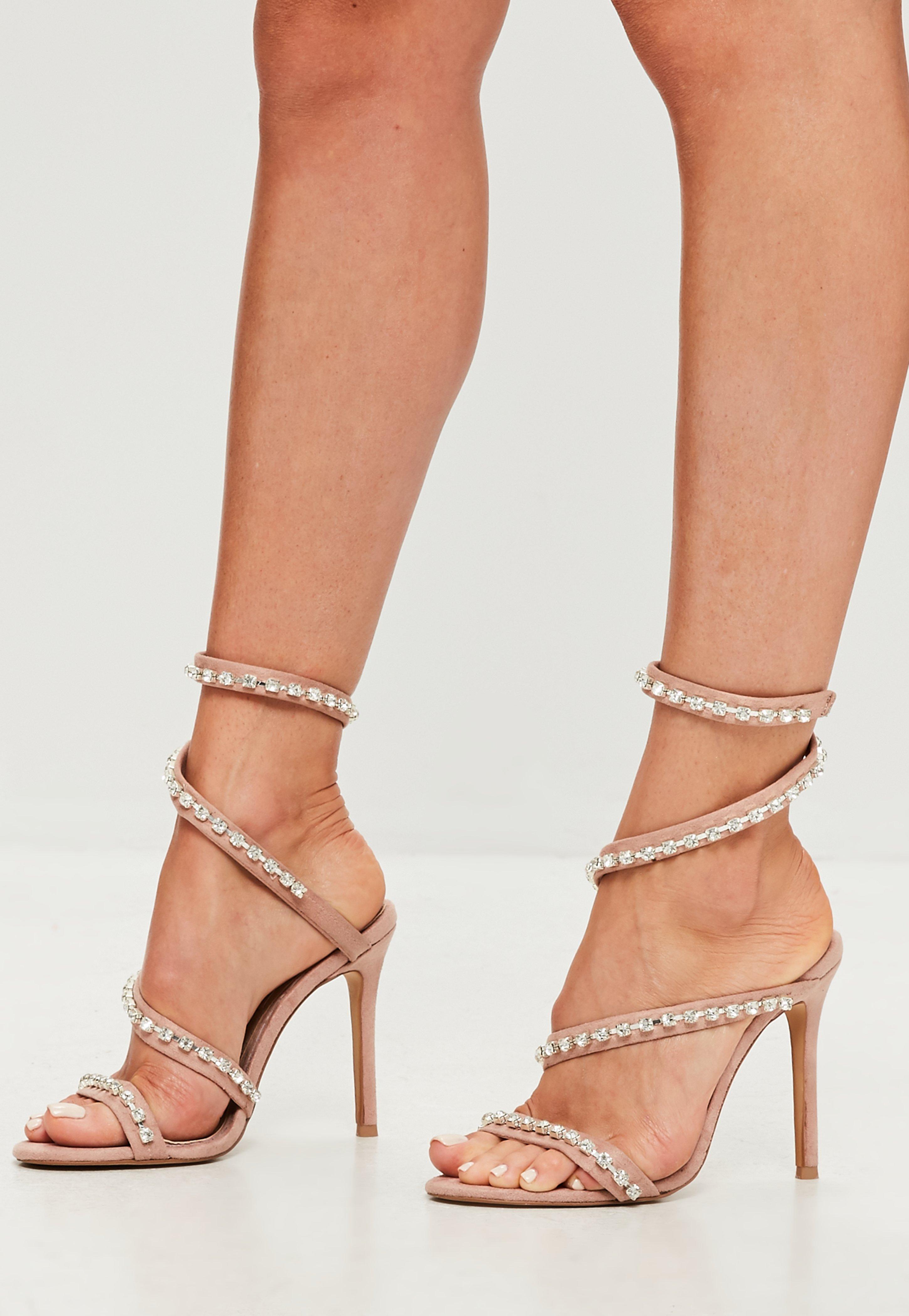 A buon mercatoMissguided Nude heels Size 5 sulla vendita
