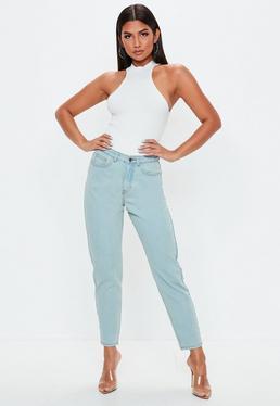 Синие винтажные жесткие джинсы с высокой талией