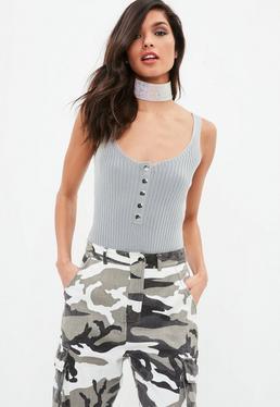 Grey Popper Basic Knitted Bodysuit