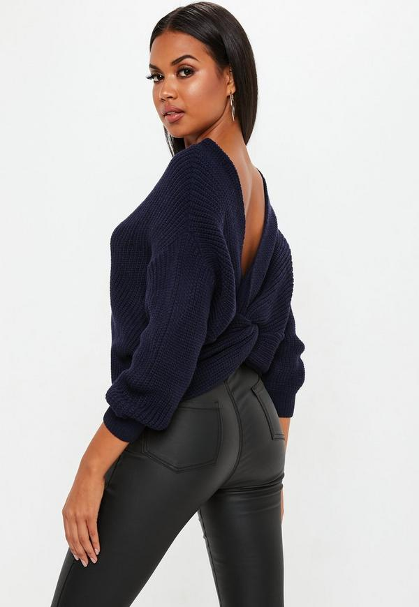 Navy Oversized Twist Back Sweater Missguided