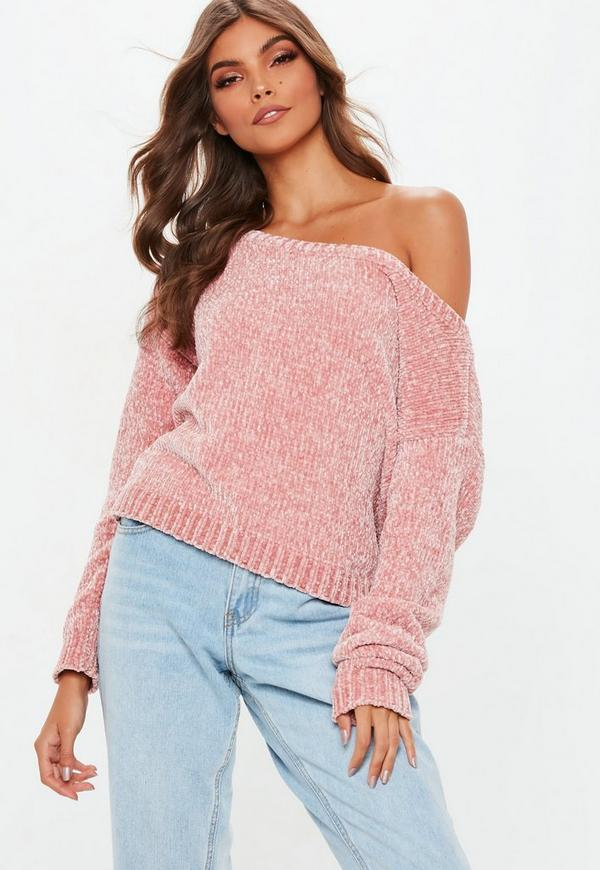 Pink Off The Shoulder Chenille Sweater Missguided
