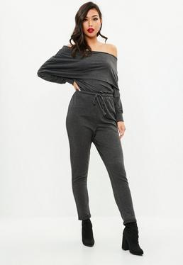 Grey Bardot Casual Jumpsuit
