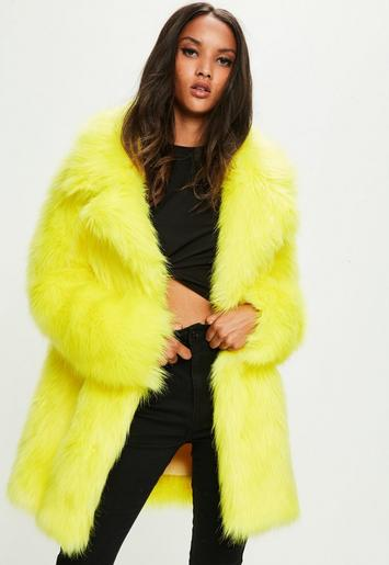 Yellow Faux Fur Coat With Collar Missguided
